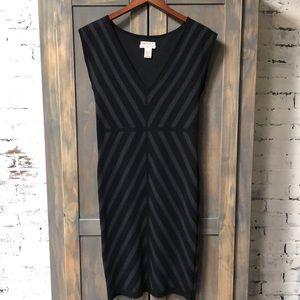 Max Studio M.S.S.P Black Grey Chevron Bodcon Dress